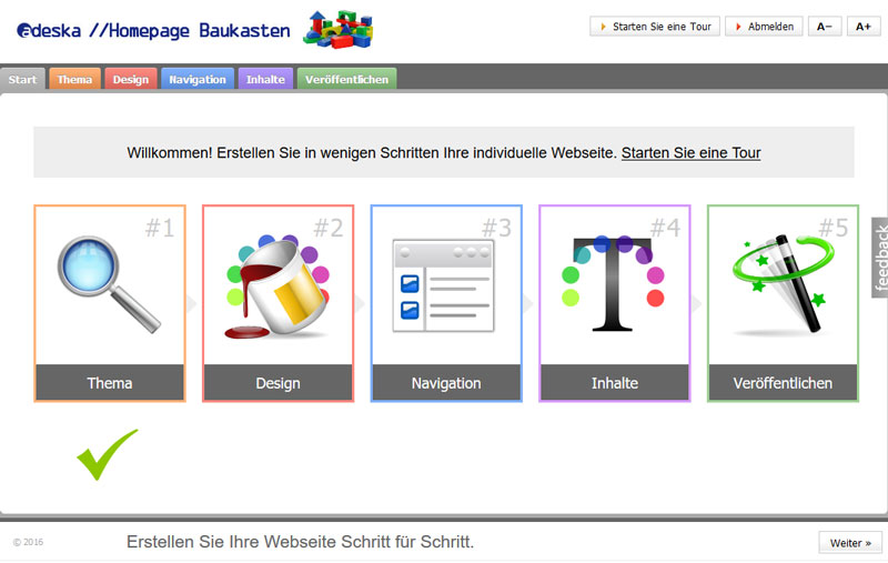 Screenshot Homepage Baukasten